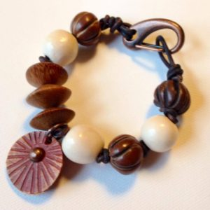 Eclectic Bracelet with Leather, Clay, Wood and Natural Stone