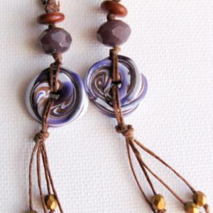 Purple Polymer Clay and Fringe Earrings