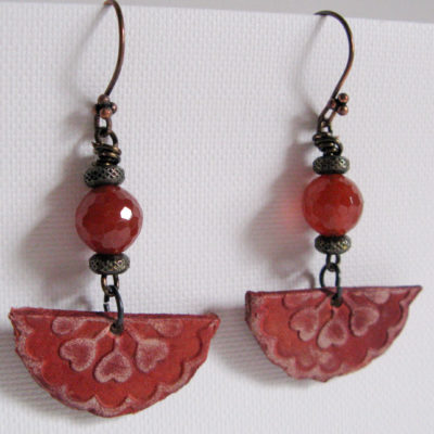 Embossed Leather with Carnelian and Copper Earrings
