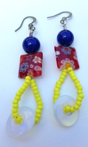 Millefiori Earrings in Shades of Red, Yellow and Blue