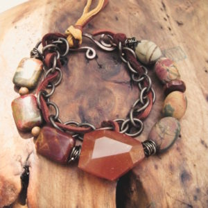 Jasper and Leather Multi-Strand Bracelet