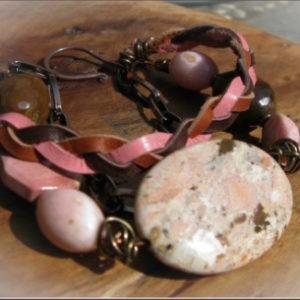 Pink and Brown Multi-strand Bracelet
