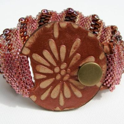 Raspberry Peyote Wave Beaded Bracelet