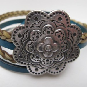 Leather Wrap Bracelet with Concho Focal