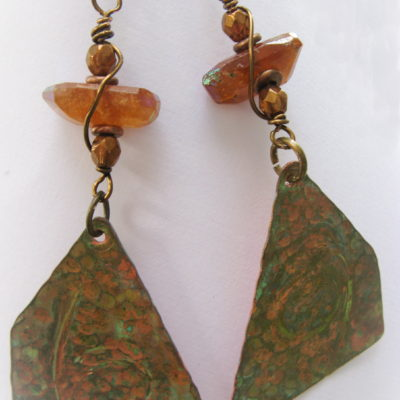 Green Patina Copper Earrings with Faceted Hessonite Garnet Chunks