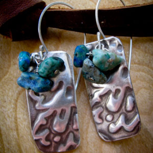 Textured Silver and Chrysocolla Earrings