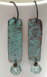 Copper Patina and Czech Glass Earrings