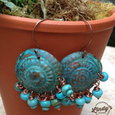 Ancient Tribe Earrings: Howalite and Turquoise Dangles