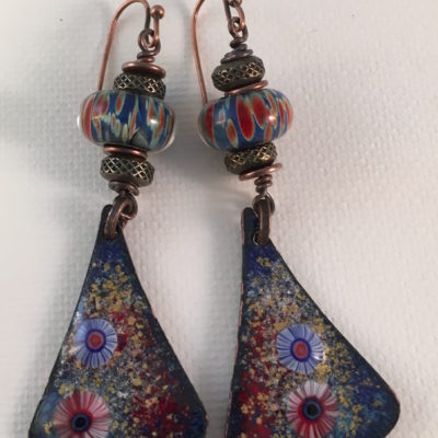Navy Blue and Red Multicolor Enamel and Lampwork Earrings