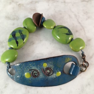 Lime Green and Peacock Blue Enamel Bracelet with Kazuri Beads