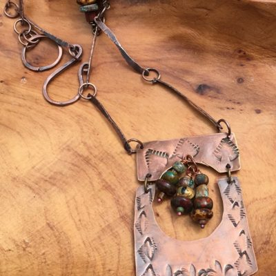Handstamp Copper Necklace with Southwest Design