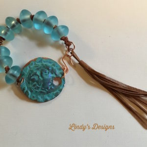 Blue Patina Focal with Leather Tassel