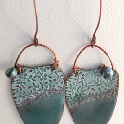 Pale Seaform Green Enamel and Patina Earrings with Copper Earwires
