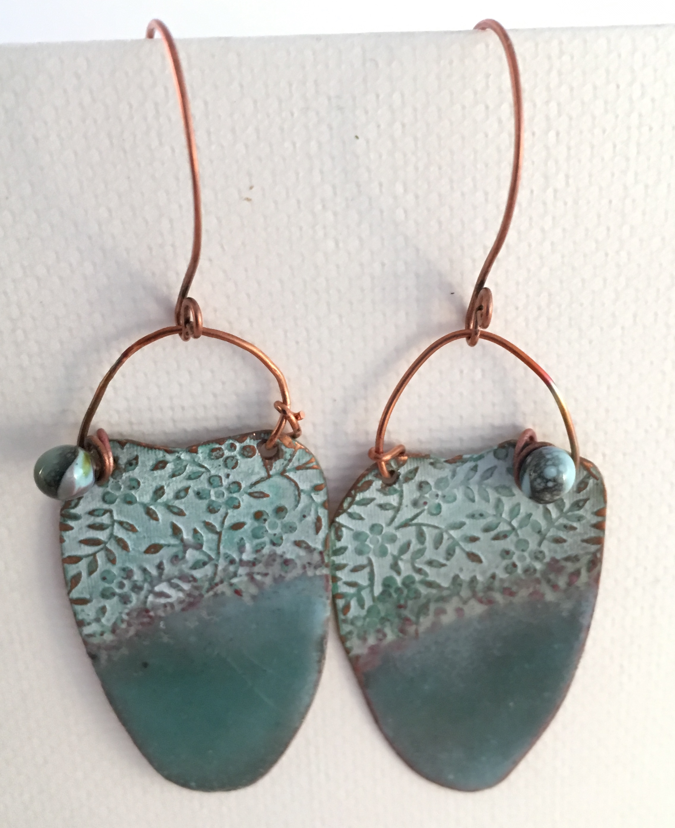 with light and debevanderheide heart on blue textured by silver copper enamel solder long pin earrings