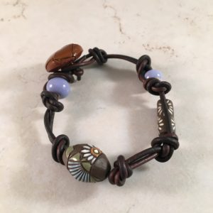 Ceramic and Leather Bracelet with Button Loop Closure