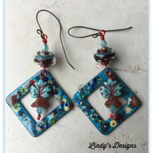 Floral Enamel Square Earrings