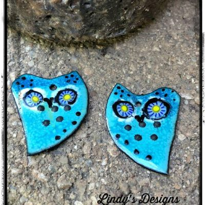 Bright Blue Owl Enamel Charms